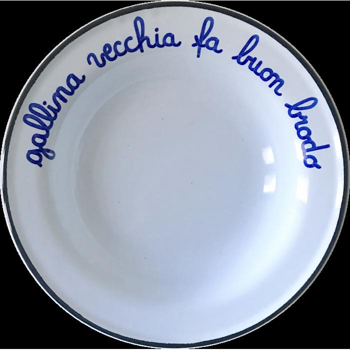 """Piatto smaltato """"Gallina vecchia fa buon brodo"""""""