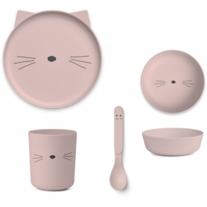 Set pappa Gatto in bambù rosa