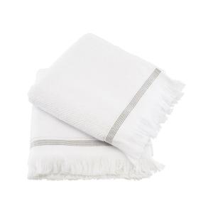 Asciugamani viso/mani bianchi con riga grigia set 2 pezzi