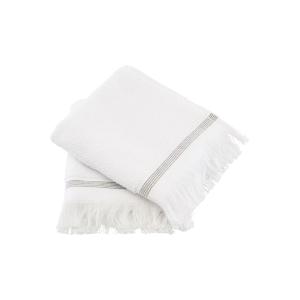 Asciugamani ospite bianco con riga grigia set 2 pezzi