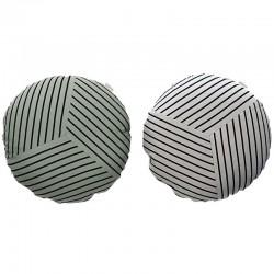 Cuscino Button  grigio/ verde militare