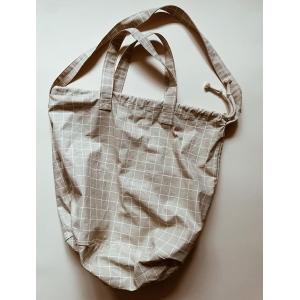 Shopping bag check Oyster grey