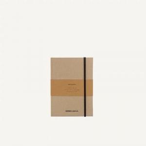 Notebook in lino copertina rigida Monk & Anna chiusura con elastico e interno a righe