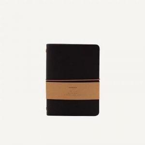 Notebook in ecopelle nero Monk & Anna copertina morbida con chiusura ad elastico interno a righe